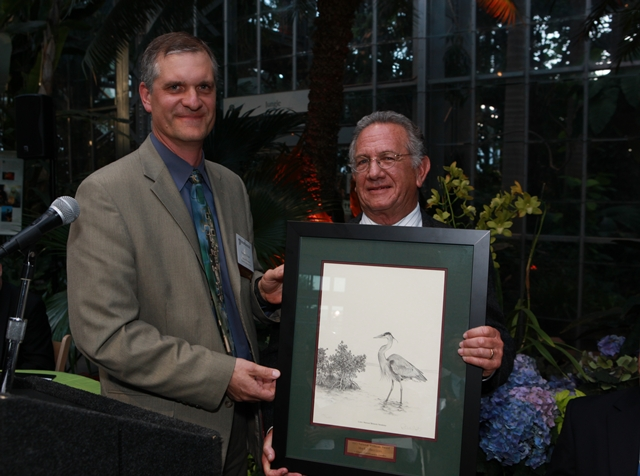 Mark Silberstein with Gregory Kidd of the Natural Resources Conservation Service, who presented his award.
