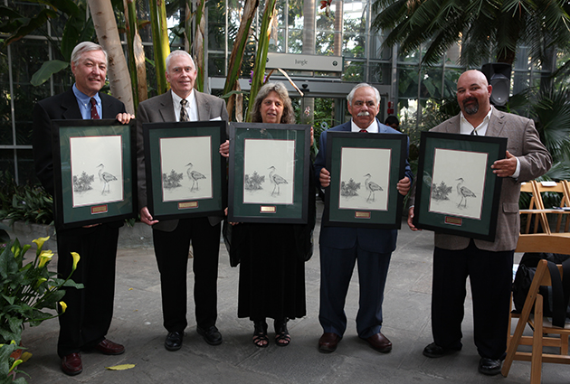 The 2014 National Wetland Award winners. From left: Dr. W. Carter Johnson (Science Research), Ray Norrgard (State, Tribal, and Local Program Development), Esther Lev (Wetland Community Leader), Jack Rudloe (Education and Outreach), and Mark Abramson (Conservation and Restoration)