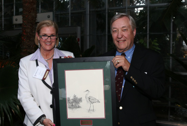 Dr. W. Carter Johnson with Kim Berns of the Natural Resources Conservation Service, who presented his award