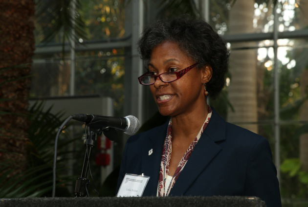 Leslie Weldon (U.S. Forest Service) delivers remarks before presenting an award